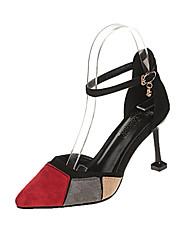 baratos -Mulheres Sapatos Couro Ecológico Camurça Verão Outono Tira no Tornozelo Conforto Saltos Caminhada Salto Agulha Dedo Fechado Dedo Apontado