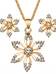 cheap -Women's Imitation Diamond Cute Flower Jewelry Set 1 Necklace / Earrings - Sweet Gold Jewelry Set For Daily / Festival