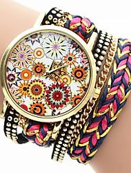Недорогие -Жен. Модные часы Китайский Повседневные часы PU Группа Цветы / Цветной Черный / Белый / Синий / Один год