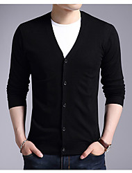 cheap -Men's Weekend Active Basic Long Sleeves Slim Long Cardigan - Solid Colored V Neck