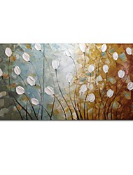 cheap -STYLEDECOR Modern Hand Painted Abstract the Bottom of the Deep White Flowers Oil Painting on Canvas Wall Art