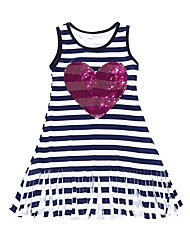 cheap -Girl's Going out School Striped Dress, Cotton Summer Fall Sleeveless Active Boho Black