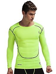 abordables -Hombre Cuello Barco Camiseta de running - Negro, Verde Deportes Ropa de Compresión Pantalones cortos Ropa de Deporte Secado rápido