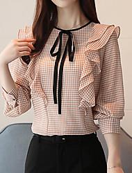 preiswerte -Damen Hahnentrittmuster-Grundlegend Street Schick Bluse