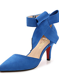 cheap -Women's Shoes Flocking Spring / Summer Comfort Heels Stiletto Heel Pointed Toe Bowknot Black / Red / Blue / Party & Evening