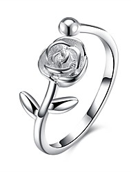 cheap -Women's Cubic Zirconia S925 Sterling Silver Flower Cuff Ring - Fashion Silver Ring For Gift / Daily