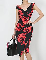 Недорогие -Жен. Тонкие Облегающий силуэт Платье - Цветочный принт, С разрезами V-образный вырез Ассиметричное / Лето / Цветочные паттерны