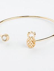abordables -Femme Zircon Manchettes Bracelets - Zircon Ananas Mode Bracelet Or / Noir / Argent Pour Sortie / Soirée