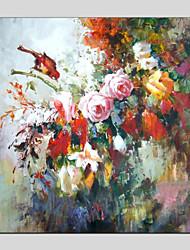 baratos -Pintura a Óleo Pintados à mão - Floral / Botânico Modern Incluir moldura interna / Lona esticada