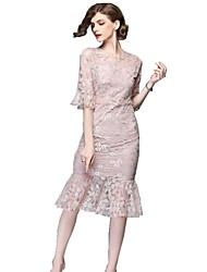 cheap -SHE IN SUN Women's Basic Street chic Flare Sleeve Sheath Trumpet / Mermaid Dress - Solid Colored Floral Lace