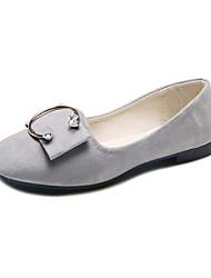 abordables -Femme Chaussures Flocage Polyuréthane Cuir Nubuck Automne Hiver Confort Mocassins et Chaussons+D6148 Talon Plat Bout rond pour Noir Gris