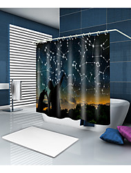 cheap -Shower Curtains & Hooks Contemporary Modern Polyester Contemporary Novelty Machine Made Waterproof Bathroom