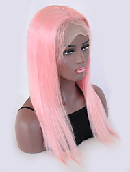 cheap -Remy Human Hair Wig Brazilian Hair Straight 130% Density With Baby Hair With Bleached Knots Natural Hairline Pink Short Long Women's