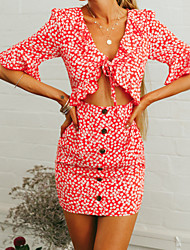 cheap -Women's Going out Holiday Boho Flare Sleeve Slim Bodycon Sheath Dress - Floral Geometric Red V Neck Strap U Neck