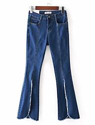 abordables -Mujer Básico Tallas Grandes Vaqueros Pantalones - Un Color Estampado