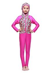 Недорогие -Девочки Простой Активный Геометрический принт Пэчворк Купальники, Нейлон Лайкра Пурпурный Светло-синий