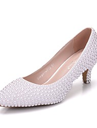cheap -Women's Shoes PU(Polyurethane) Spring / Fall Comfort / Novelty Wedding Shoes Low Heel Pointed Toe Pearl White