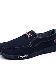 Недорогие -Для мужчин обувь Деним Полотно Весна Лето Удобная обувь Мокасины Мокасины и Свитер Пряжки Назначение Повседневные Черный Синий