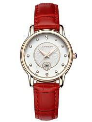 baratos -Mulheres Relógio de Moda Japanês Calendário Couro Legitimo Banda Fashion Preta / Branco / Vermelho