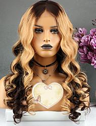 baratos -Cabelo Remy Peruca Cabelo Brasileiro Ondulado Corte em Camadas 130% Densidade Com Baby Hair Festa Dourado Curto Longo Comprimento médio