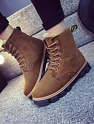 povoljno -Žene Cipele Nubuk koža Zima Čizme za snijeg Čizme Kockasta potpetica Čizme gležnjače / do gležnja za Kauzalni Crn Sive boje Deva