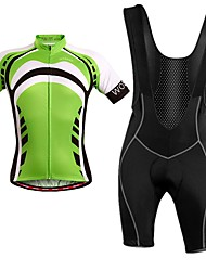 cheap -WOSAWE Short Sleeves Cycling Jersey with Bib Shorts - Green Bike