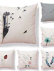 economico -6 pezzi Tessuto Cotone / Lino Federa, Artistico Semplice Stampe Artistico Moderno