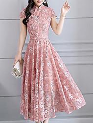 Недорогие -Жен. Большие размеры Классический С летящей юбкой Платье - Цветочный принт, Кружева Воротник-стойка Средней длины