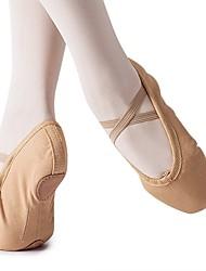 Недорогие -Девочки Обувь для балета Полотно На плоской подошве На плоской подошве Персонализируемая Танцевальная обувь Верблюжий / В помещении