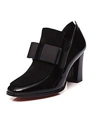 preiswerte -Damen Schuhe Leder Frühling Herbst Pumps High Heels Blockabsatz Runde Zehe Schleife für Büro & Karriere Schwarz