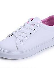 baratos -Mulheres Sapatos Couro Ecológico Primavera Outono Conforto Tênis Sem Salto para Casual Branco Azul Rosa claro