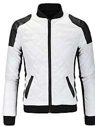 cheap -Men's Active Basic Leather Jacket-Solid Colored