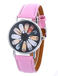 cheap -Women's Fashion Watch Quartz Large Dial PU Band Analog Casual Black / White / Blue - Blue Pink Khaki One Year Battery Life