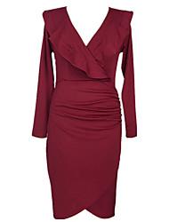 cheap -Women's Basic Bodycon Sheath Dress - Solid Colored Ruffle Split