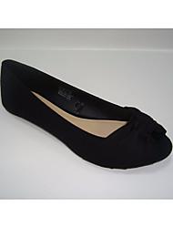 povoljno -Žene Cipele Sintetika, mikrofibra, PU Proljeće Jesen Udobne cipele Ravne cipele Niska potpetica Peep Toe za Kauzalni Crn Crvena