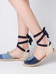 cheap -Women's Shoes Fabric Spring / Summer Comfort Sandals Flat Heel Closed Toe Ribbon Tie Blue / Party & Evening / Lace up