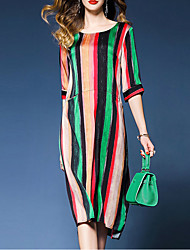 cheap -Women's Sophisticated Street chic Loose Dress - Striped, Print