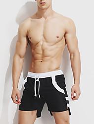cheap -Men's Sporty Bottoms - Striped Color Block Lace up Swim Trunk