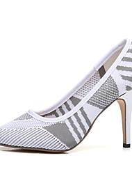 preiswerte -Damen Schuhe Gestrickt Frühling Sommer Pumps Komfort High Heels Stöckelabsatz für Büro & Karriere Draussen Weiß Schwarz