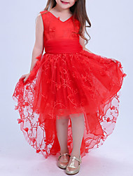 cheap -Girl's Daily Holiday Solid Dress, Cotton Polyester Summer Sleeveless Lace Red