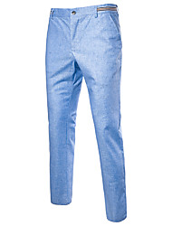 cheap -Men's Street chic Plus Size Cotton Linen Slim Chinos Pants - Solid Colored