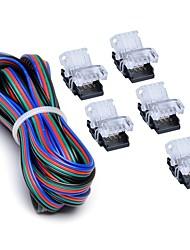 Недорогие -zdm 5pcs 10mm rgb нет-водонепроницаемый 4-штырьковый разъем для проводов с 22 # ul указан 3m 4-проводная линия diy обе полосы для питания провода или платы для перемычки на плате