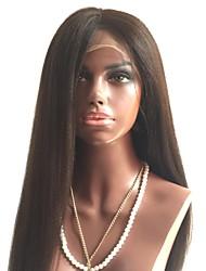 Недорогие -Не подвергавшиеся окрашиванию Полностью ленточные Парик Бразильские волосы Прямой Парик Стрижка каскад / Средняя часть 130% С детскими волосами / Природные волосы Черный Жен.