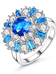 cheap -Synthetic Aquamarine / Cubic Zirconia Band Ring - Flower Vintage, Elegant 5 / 6 / 7 Blue For Wedding / Engagement / Ceremony