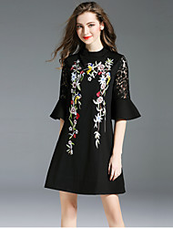 cheap -SHIHUATANG Women's Vintage Street chic Flare Sleeve Little Black Dress - Floral, Embroidered