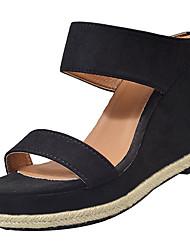 Недорогие -Жен. Обувь Нубук Лето Удобная обувь Сандалии Туфли на танкетке для Черный Бежевый
