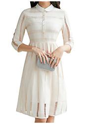 Недорогие -Жен. Оболочка Платье - Контрастных цветов Вырез под горло Выше колена