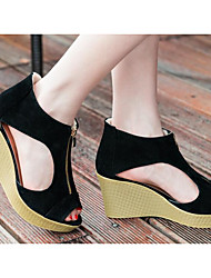cheap -Women's Shoes PU Summer Basic Pump Comfort Sandals Wedge Heel for Casual Black Almond