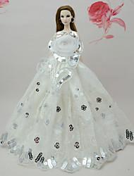 abordables -Robes Robe Pour Poupée Barbie Blanc Polyester / Coton Robe Pour Fille de Jouets DIY