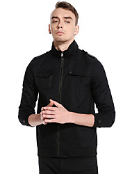 cheap -Men's Military Jacket-Solid Colored